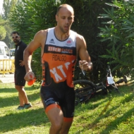 Miguel Angel allreday in front after the swim