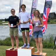 Podium women: Odgers (born Davis), Russel and Temple-Fry