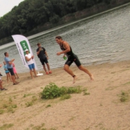 Tomáš Svoboda alone in front after the swim