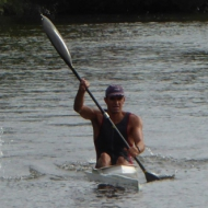 Ferenc Csima leading after the kayak