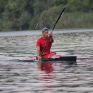 Dániel Bergmann with the fastest kayak time