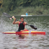 Kata Balázs with the fastest time in and on the water