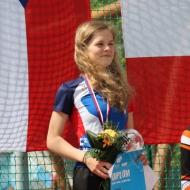 Magdalena Koberova close behind the German