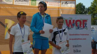 K. Burow A. Fiebig, Lisa Teichert (all GER) at the Bergsee Quadrathlon Ratscher (GER) 2012 (c) J. Kastner