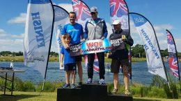 R. Noval (ESP), T. Sovboda (ESP), J. Brewer (GBR) at Box End Quadrathlon (GBR) 2017 (c) QuadRac Racing