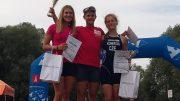 Bibiána Grolmusová (SVK), Lisa Teichert (GER) Magdaléna Koberová (CZE) at Quadrathlon Komárno (SVK) 2017 (c) S. Teichert