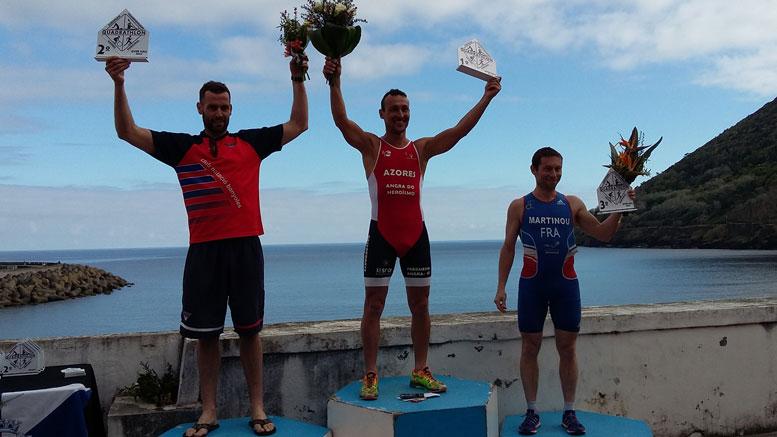 Albert Corominas (ESP), Pedro Barthlomeu (POR), Laurant Martinau (FRA) at Quadrathlon Terceria (POR) 2018 (c) Q4U